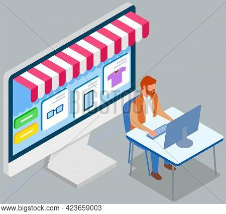 Shopping With Special Store Computer Program. Man Is Using Laptop For Buying And Ordering Goods. Mal