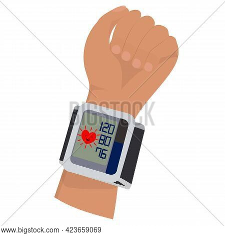 Blood Pressure Concept. Wrist Tonometer On The Arm With Indicators Of Normal Blood Pressure And Hear