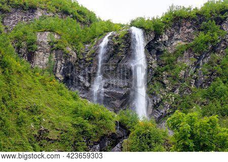 Polikarya Waterfall, Located On The Slope Of Mount Aibga, In Krasnaya Polyana, Sochi. The Height Of