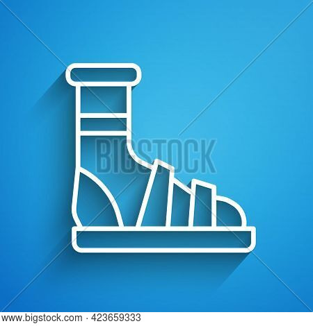 White Line Slippers With Socks Icon Isolated On Blue Background. Beach Slippers Sign. Flip Flops. Lo