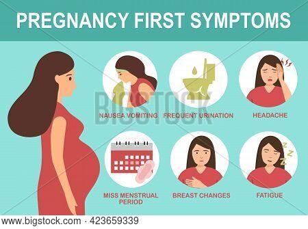 Pregnancy First Symptom Infographic In Flat Design.