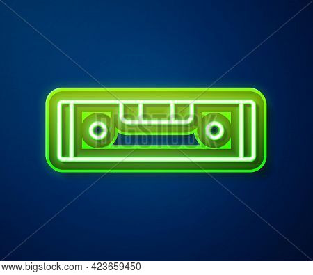 Glowing Neon Line Construction Bubble Level Icon Isolated On Blue Background. Waterpas, Measuring In