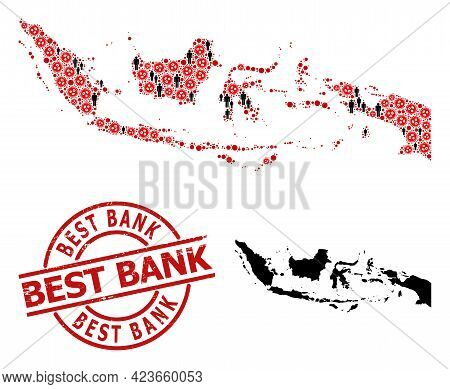 Collage Map Of Indonesia Constructed From Viral Icons And Humans Icons. Best Bank Textured Seal Stam