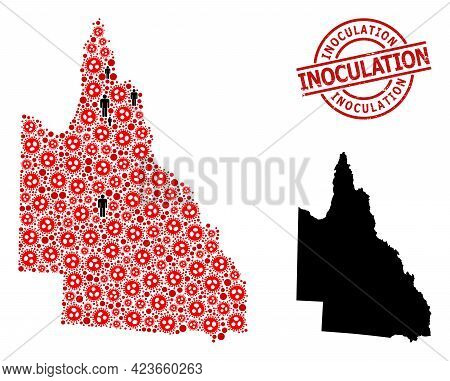Mosaic Map Of Australian Queensland Constructed From Virus Icons And Demographics Elements. Inoculat