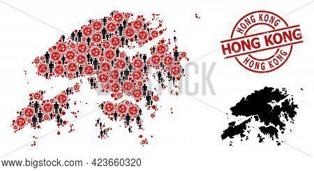 Mosaic Map Of Hong Kong United From Viral Items And Demographics Items. Hong Kong Grunge Watermark.