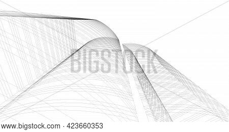 Abstract 3D Building Wireframe Structure. Illustration Construction Graphic Idea , Architectural Ske
