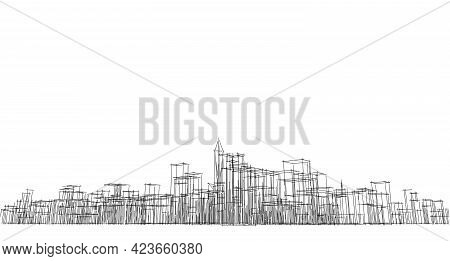 Perspective Outline Architecture Building 3d Illustration, Modern Urban Architecture Abstract Backgr