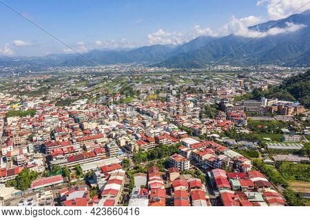 Nantou, Taiwan - September 6th, 2019: aerial view of Puli town with buildings in the daytime, Nantou, Taiwan
