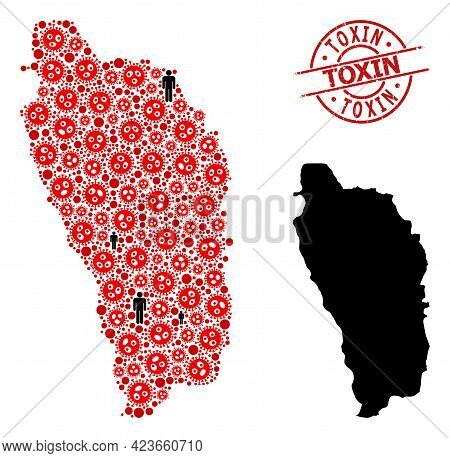 Collage Map Of Dominica Island Organized From Sars Virus Icons And Population Icons. Toxin Grunge Se