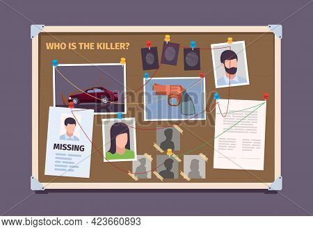 Detective Board. Police Officer Evidence Photo Check Board With Sticky Pictures Justice Garish Vecto