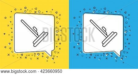 Set Line Mop Icon Isolated On Yellow And Blue Background. Cleaning Service Concept. Vector