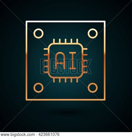 Gold Line Computer Processor With Microcircuits Cpu Icon Isolated On Dark Blue Background. Chip Or C