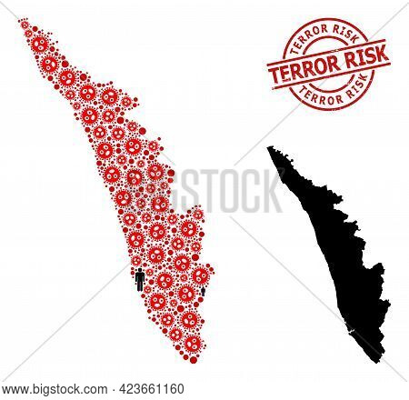 Mosaic Map Of Kerala State Organized From Sars Virus Icons And Men Items. Terror Risk Grunge Badge.