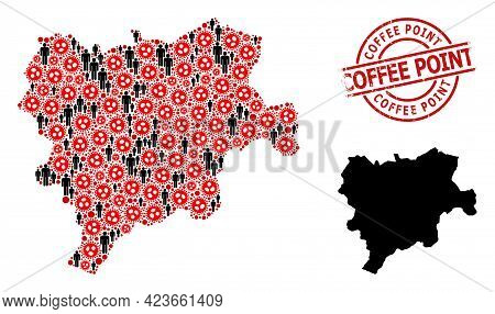 Mosaic Map Of Albacete Province United From Sars Virus Icons And Population Elements. Coffee Point T