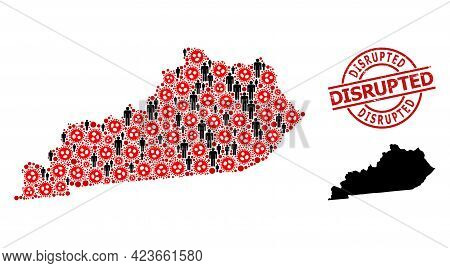 Mosaic Map Of Kentucky State Composed Of Flu Virus Icons And Humans Elements. Disrupted Distress Sea