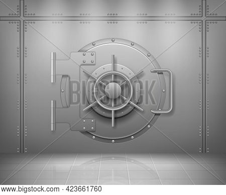 Steel Bank Doors. Concept Of Save Money And Treasures Metal Or Steel Protection Doors Empty Storage