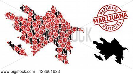 Mosaic Map Of Azerbaijan Designed From Covid Infection Items And Population Items. Marijuana Grunge