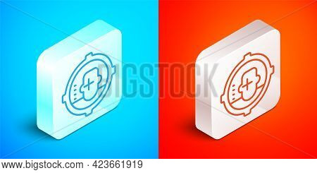 Isometric Line Headshot Icon Isolated On Blue And Red Background. Sniper And Marksman Is Shooting On