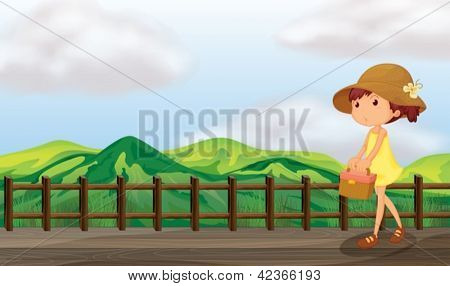 Illustration of a sexy lady walking in the bridge