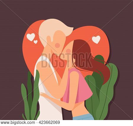 Couple Kiss. Love Dating, Man Kissed Woman On Red Heart Background. Summer Loving Vector Card