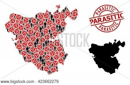 Collage Map Of Cadiz Province Constructed From Covid Virus Icons And Humans Elements. Parasitic Scra
