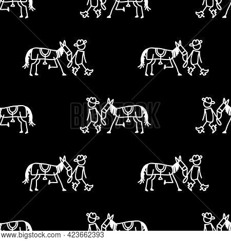 Black And White Drawn Stick Figure Of Cowboy Walking With Horse Clip Art. Wild Masculine Stallion Pl