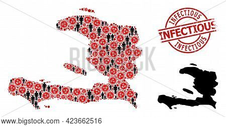Mosaic Map Of Haiti Designed From Flu Virus Icons And People Items. Infectious Scratched Badge. Blac