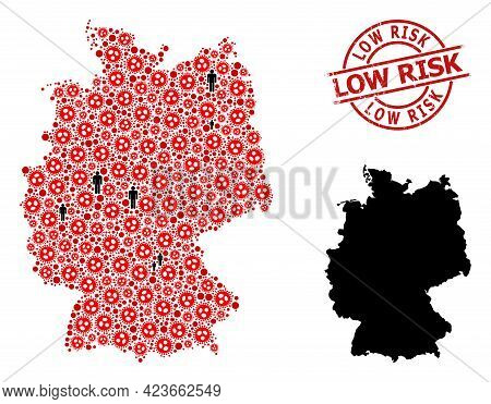 Mosaic Map Of Germany Designed From Flu Virus Items And Men Items. Low Risk Distress Stamp. Black Me