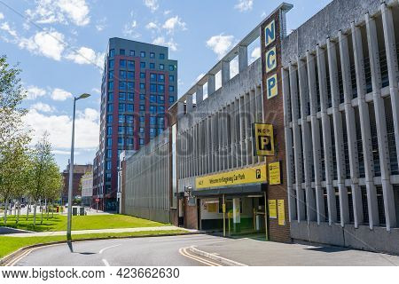 Swansea, Uk - June 6, 2021: The Ncp Or National Car Park, The Kingsway, Swansea. Logo Above The Entr