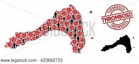 Collage Map Of Koh Lipe Organized From Virus Outbreak Icons And Demographics Icons. Thrombosis Textu