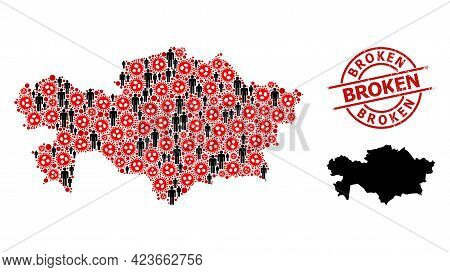 Collage Map Of Kazakhstan Designed From Covid Elements And People Elements. Broken Distress Seal. Bl