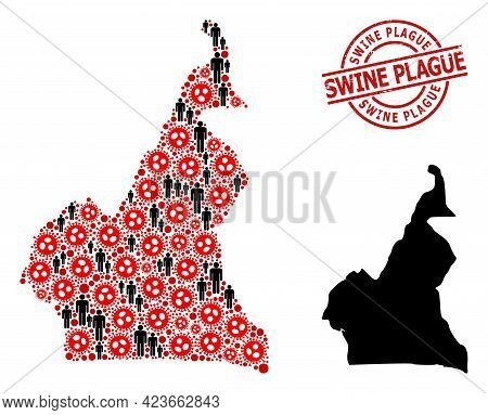 Mosaic Map Of Cameroon Designed From Covid Infection Icons And Men Elements. Swine Plague Distress S