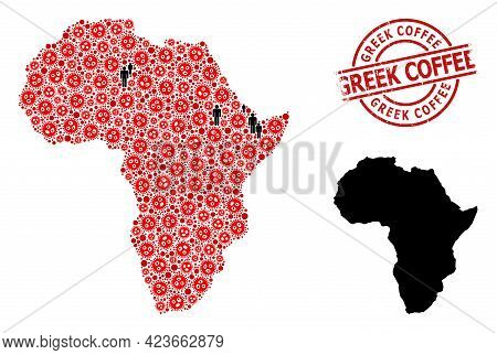 Collage Map Of Africa Constructed From Covid Virus Icons And Demographics Items. Greek Coffee Textur