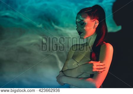 Feminine Nature. Silhouette Portrait. Inner Ocean. Tranquil Energy. Glamorous Beautiful Woman Posing