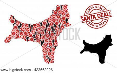 Mosaic Map Of Christmas Island Constructed From Sars Virus Items And Humans Icons. Santa Deals Scrat