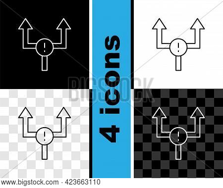 Set Line Arrow Icon Isolated On Black And White, Transparent Background. Direction Arrowhead Symbol.