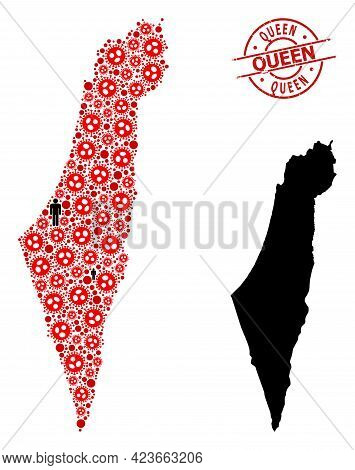 Mosaic Map Of Israel Composed Of Flu Virus Icons And Population Icons. Queen Grunge Stamp. Black Cro
