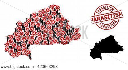 Mosaic Map Of Burkina Faso Organized From Sars Virus Elements And Men Elements. Parasitism Distress