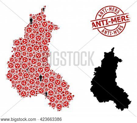 Collage Map Of Champagne Province Organized From Sars Virus Items And People Icons. Anti-mers Distre