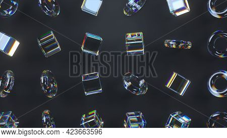 3d Glass Rotating Cubes And Torus With Dispersion Effect. Dark Background. Trendy Iridescent Colors.