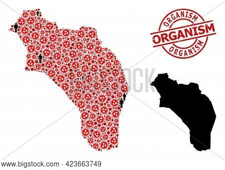 Collage Map Of Argentina - La Rioja Organized From Covid Icons And People Elements. Organism Distres