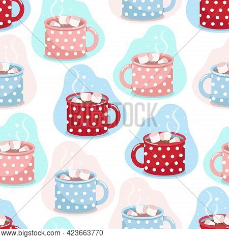 Cocoa Mug Seamless Pattern, Mugs Of Different Colors In White Polka Dots With Cocoa And Marshmallows