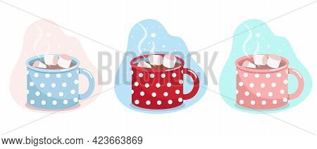 Mug With Cocoa And Marshmallows, Blue, Red And Pink Mug In White Polka Dots, Vector Flat Illustratio