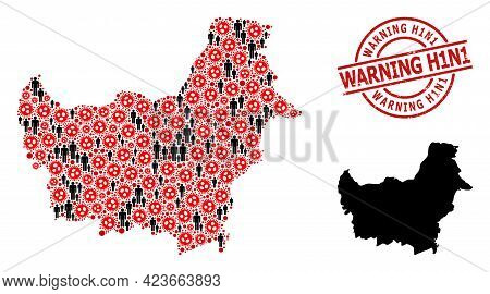 Mosaic Map Of Borneo Island Composed Of Covid Icons And Demographics Items. Warning H1n1 Scratched S