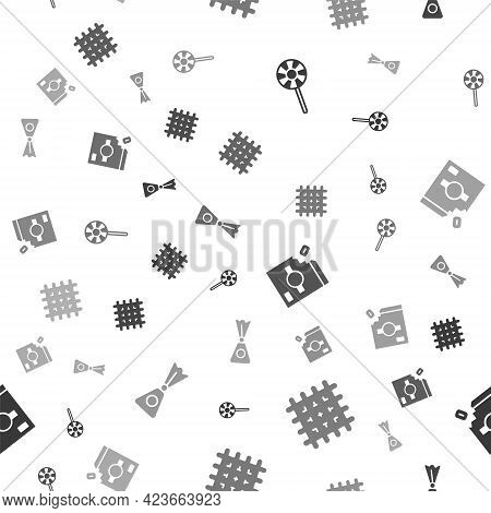 Set Lollipop, Cracker Biscuit, Candy Packaging For Sweets And On Seamless Pattern. Vector