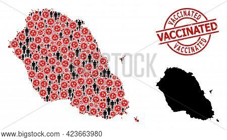 Mosaic Map Of Graciosa Island Organized From Covid Virus Icons And People Icons. Vaccinated Scratche