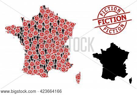 Collage Map Of France Constructed From Covid Elements And People Icons. Fiction Textured Seal Stamp.