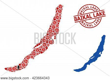 Collage Map Of Baikal Organized From Virus Elements And Population Items. Baikal Lake Distress Seal.