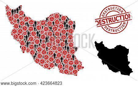 Collage Map Of Iran Designed From Virus Elements And Humans Elements. Destruction Grunge Stamp. Blac