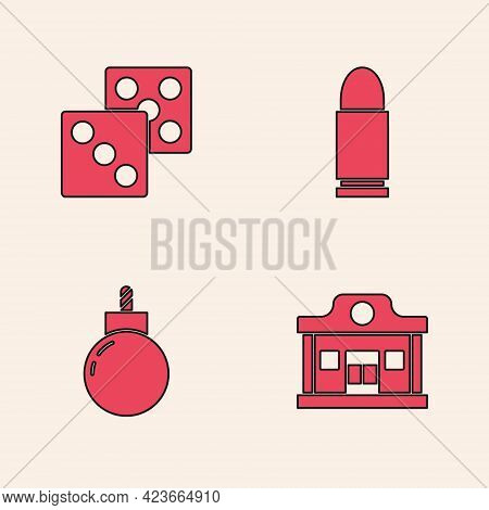 Set Wild West Saloon, Game Dice, Bullet And Bomb Ready To Explode Icon. Vector